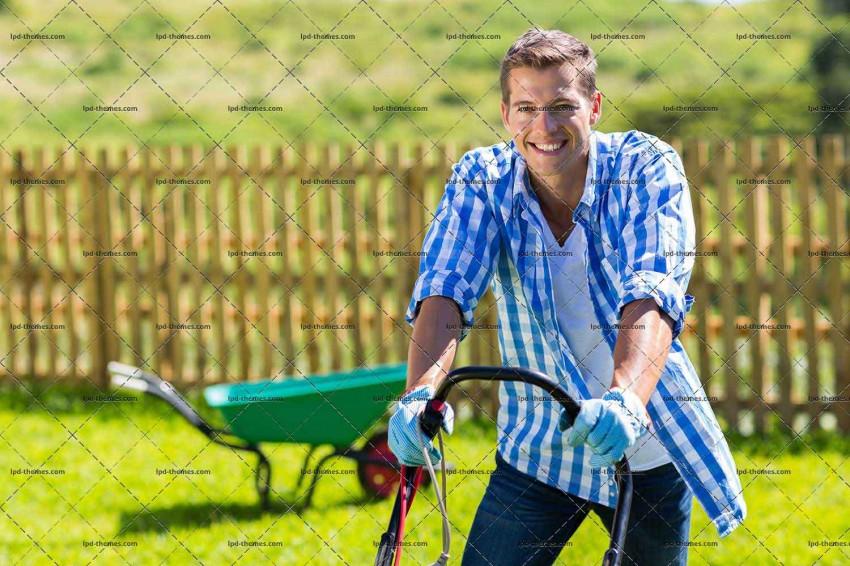 Happy Man Mowing