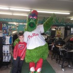 The Phillie Phanatic stopped by to say hello at the Warm Hugs for Vets event at our garden center.